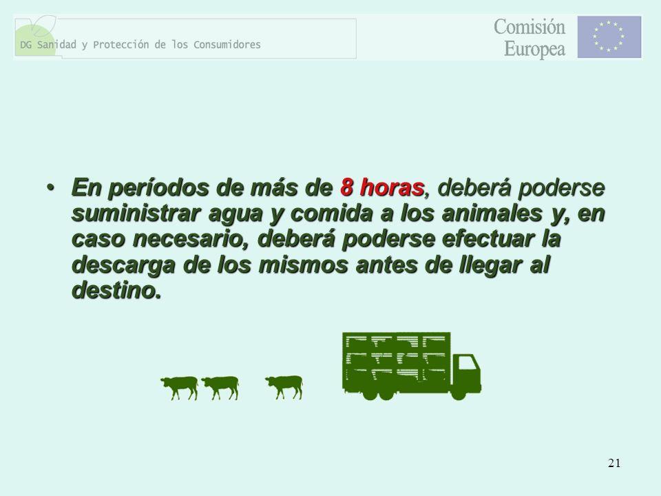 En períodos de más de 8 horas, deberá poderse suministrar agua y comida a los animales y, en caso necesario, deberá poderse efectuar la descarga de los mismos antes de llegar al destino.