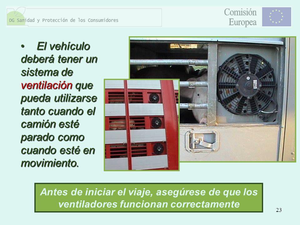 El vehículo deberá tener un sistema de ventilación que pueda utilizarse tanto cuando el camión esté parado como cuando esté en movimiento.