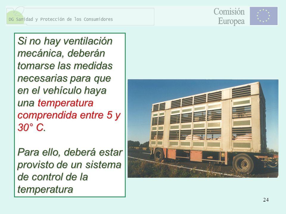 Si no hay ventilación mecánica, deberán tomarse las medidas necesarias para que en el vehículo haya una temperatura comprendida entre 5 y 30° C.