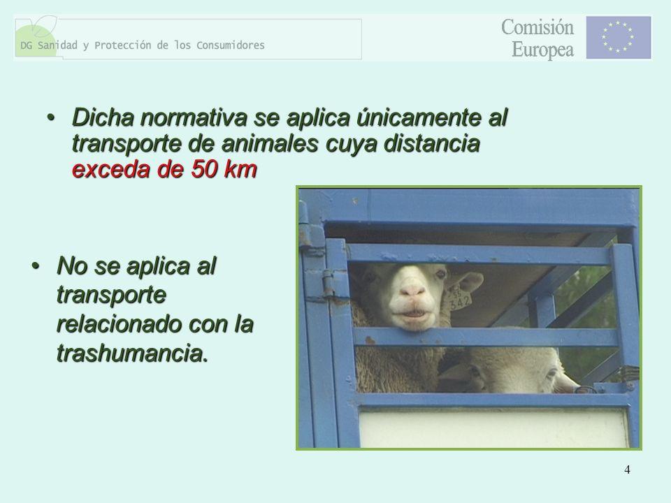 Dicha normativa se aplica únicamente al transporte de animales cuya distancia exceda de 50 km