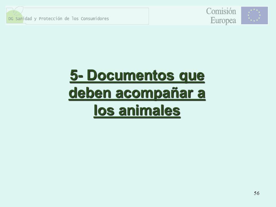 5- Documentos que deben acompañar a los animales