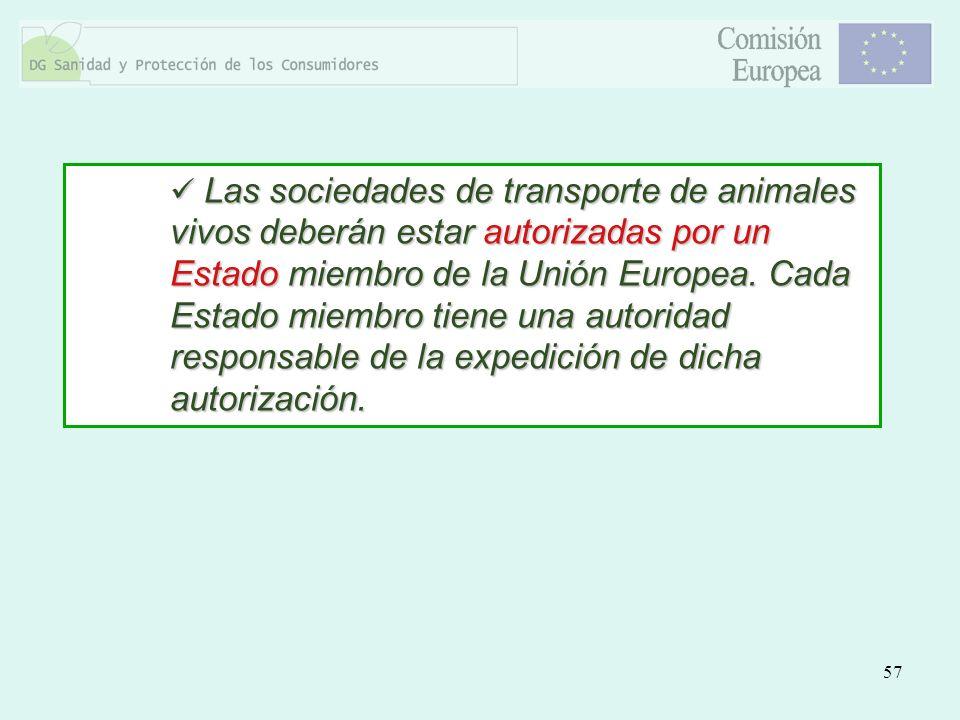 Las sociedades de transporte de animales vivos deberán estar autorizadas por un Estado miembro de la Unión Europea.