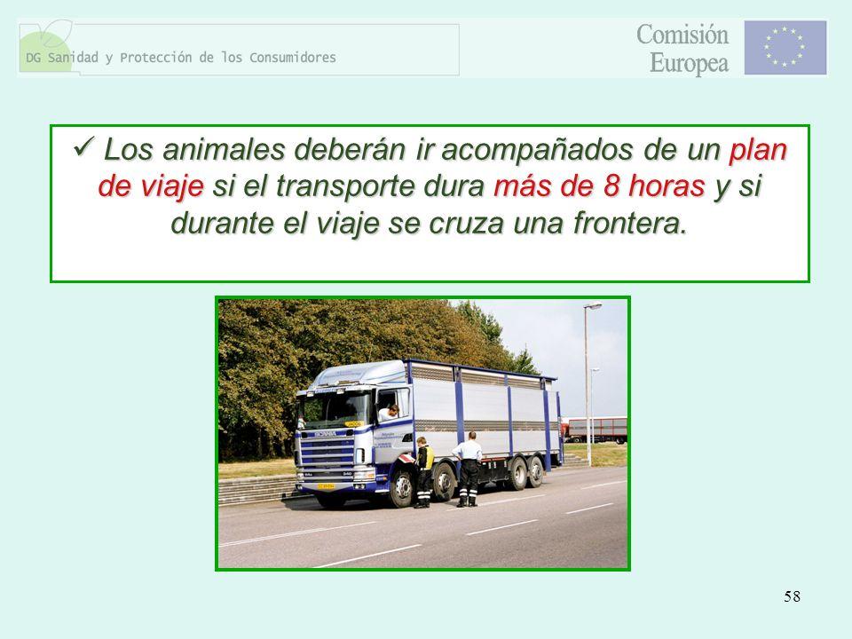 Los animales deberán ir acompañados de un plan de viaje si el transporte dura más de 8 horas y si durante el viaje se cruza una frontera.