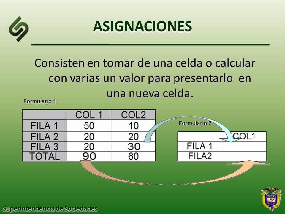 ASIGNACIONES Consisten en tomar de una celda o calcular con varias un valor para presentarlo en una nueva celda.