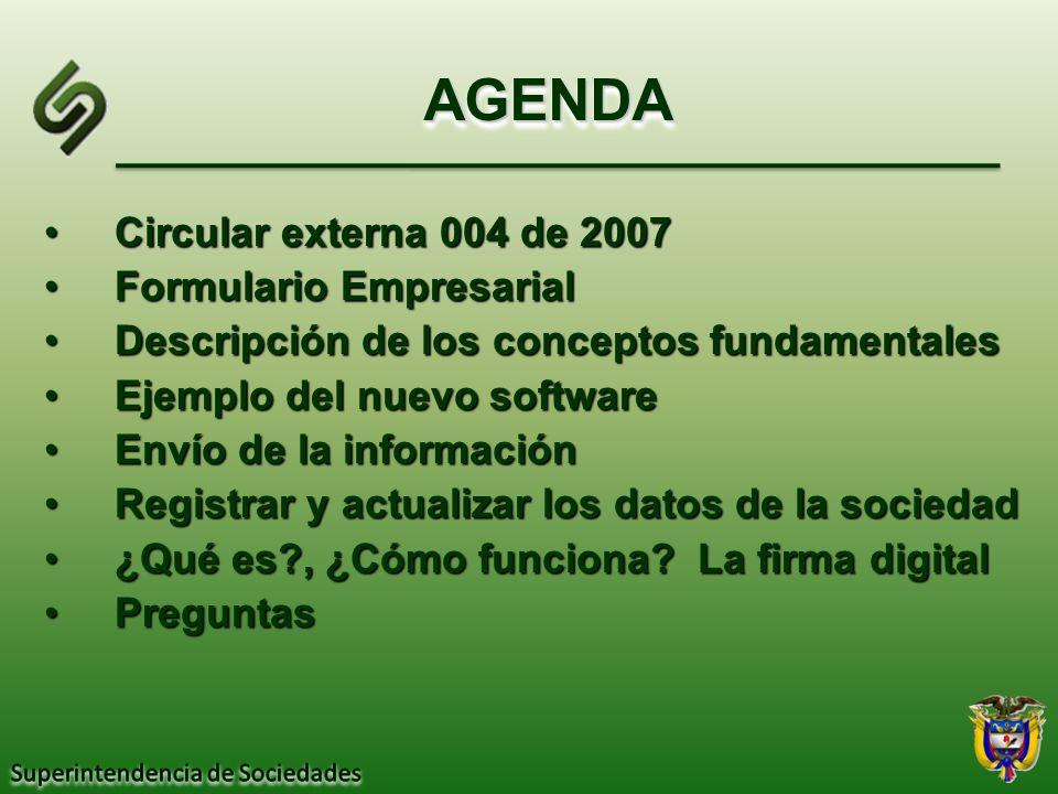 AGENDA Circular externa 004 de 2007 Formulario Empresarial