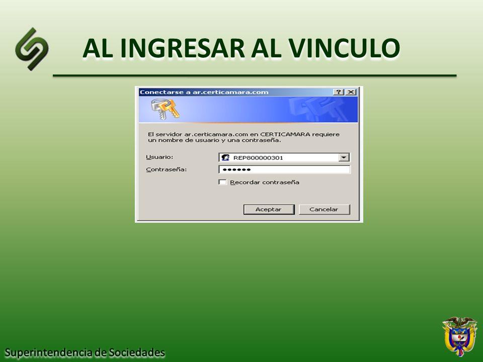 AL INGRESAR AL VINCULO