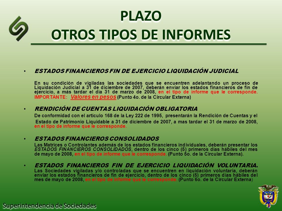PLAZO OTROS TIPOS DE INFORMES