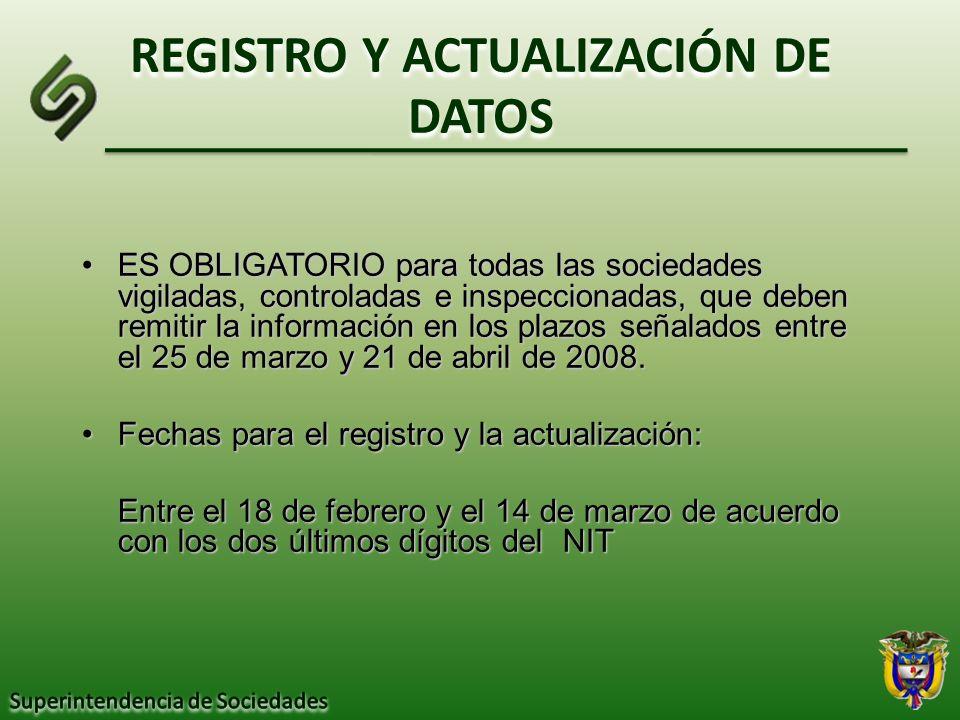 REGISTRO Y ACTUALIZACIÓN DE DATOS
