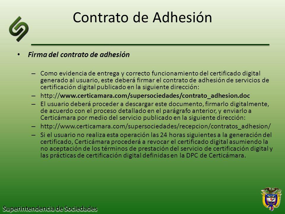 Contrato de Adhesión Firma del contrato de adhesión
