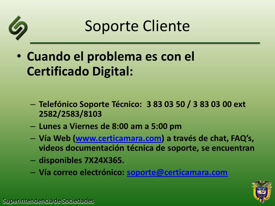 Soporte Cliente Cuando el problema es con el Certificado Digital: