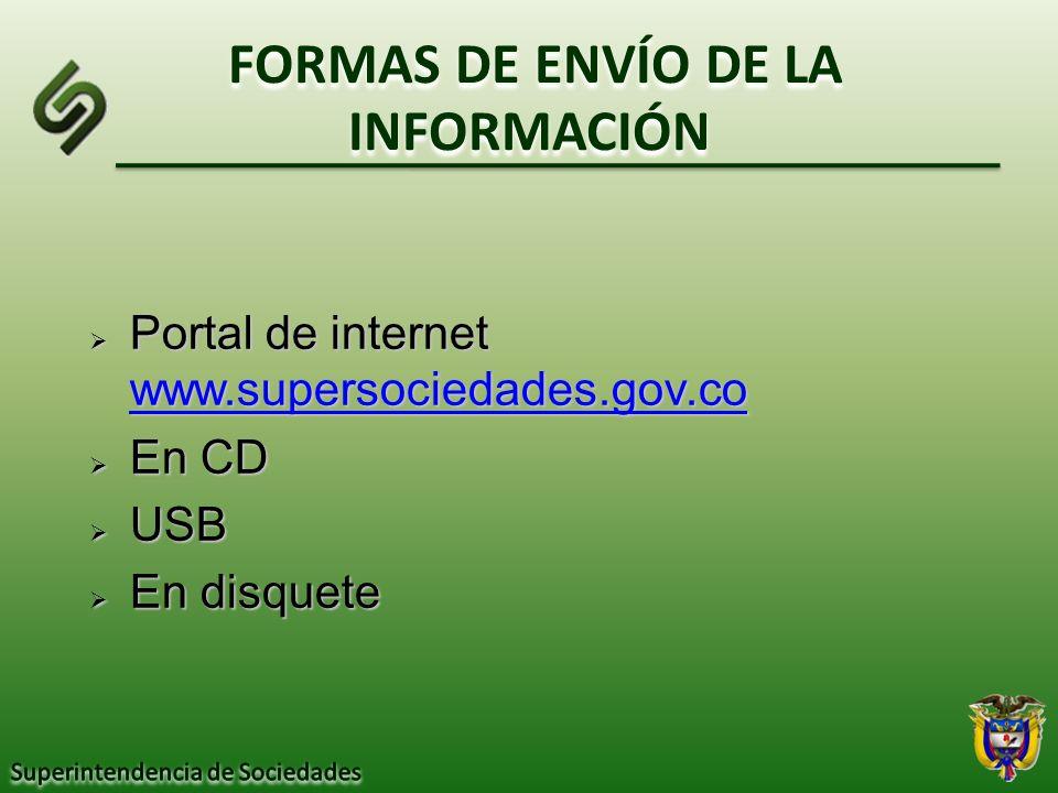 FORMAS DE ENVÍO DE LA INFORMACIÓN