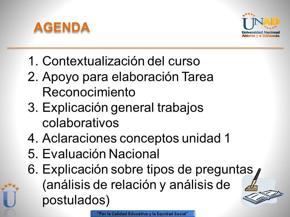 AGENDA Contextualización del curso. Apoyo para elaboración Tarea Reconocimiento. Explicación general trabajos colaborativos.