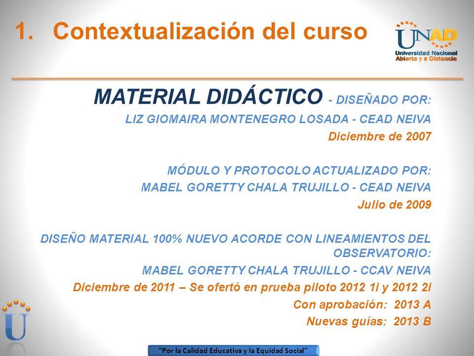 Contextualización del curso