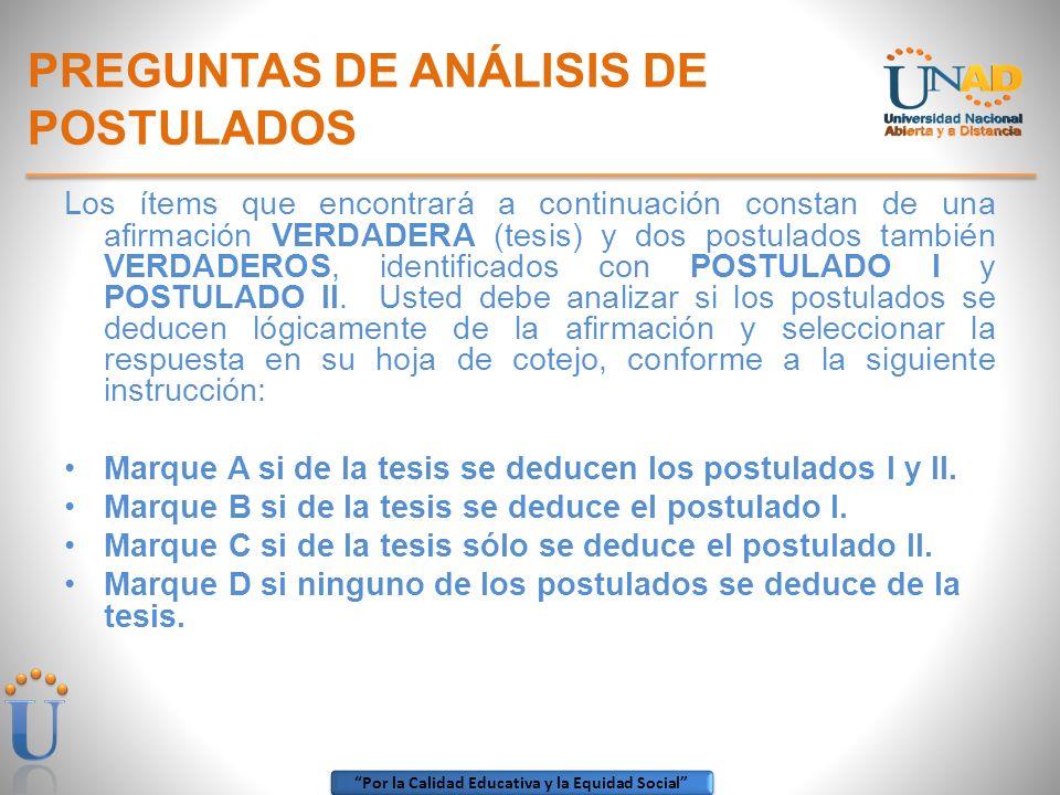 PREGUNTAS DE ANÁLISIS DE POSTULADOS