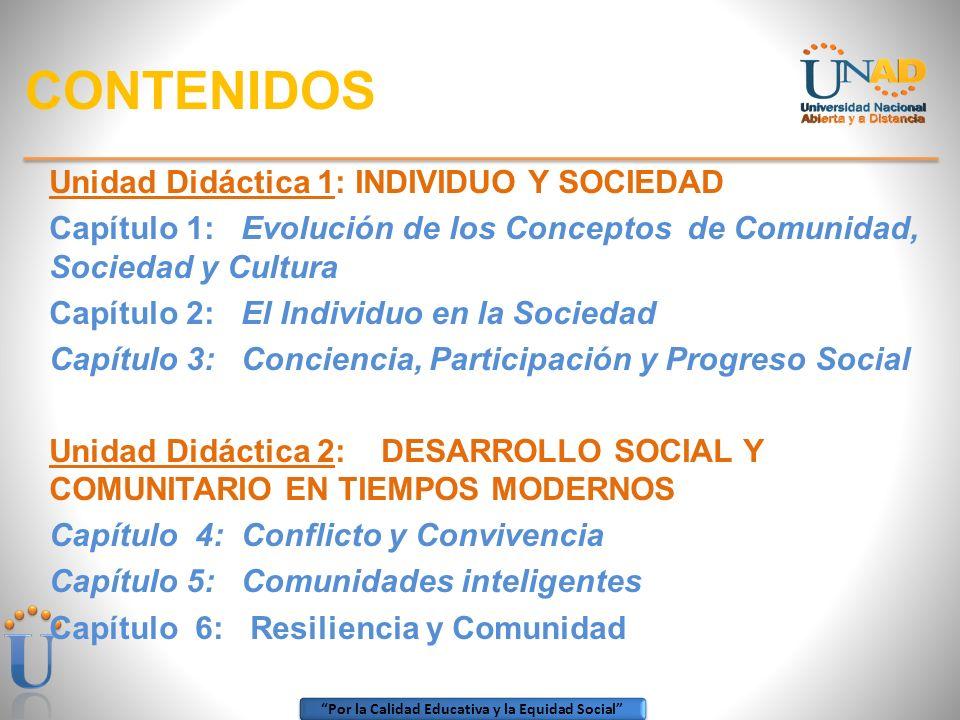 CONTENIDOS Unidad Didáctica 1: INDIVIDUO Y SOCIEDAD