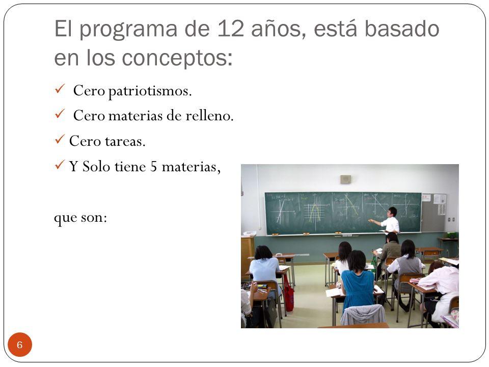 El programa de 12 años, está basado en los conceptos:
