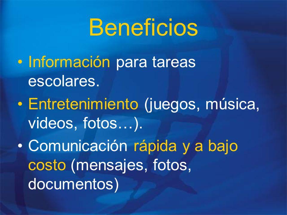 Beneficios Información para tareas escolares.