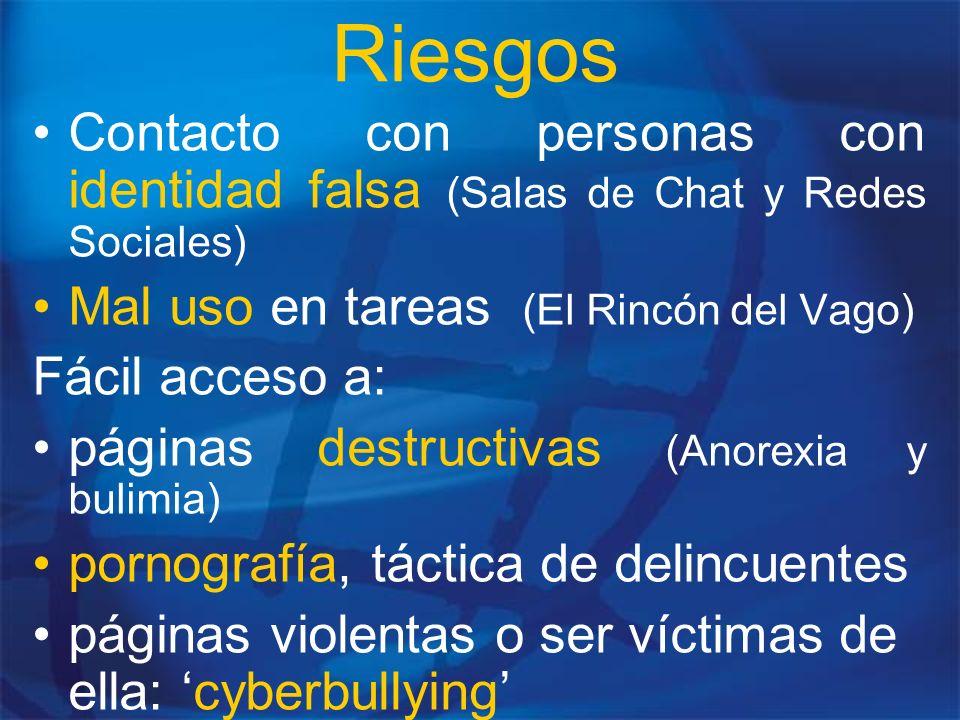 Riesgos Contacto con personas con identidad falsa (Salas de Chat y Redes Sociales) Mal uso en tareas (El Rincón del Vago)