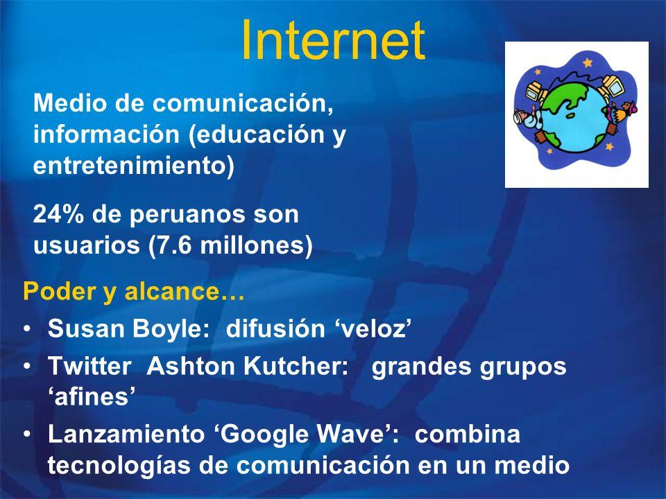 Internet Medio de comunicación, información (educación y entretenimiento) 24% de peruanos son usuarios (7.6 millones)
