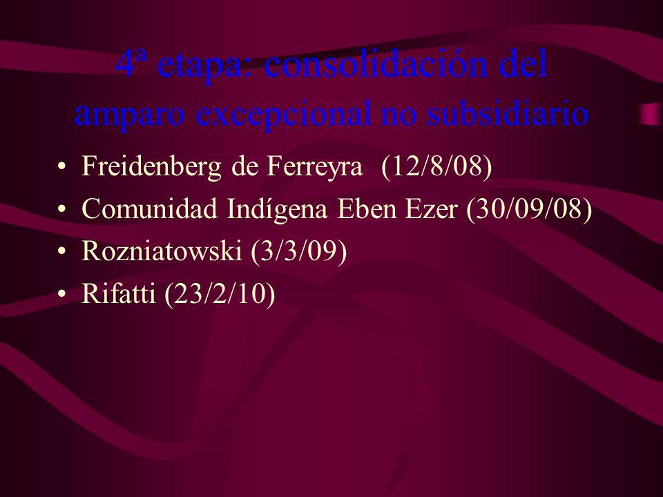 4ª etapa: consolidación del amparo excepcional no subsidiario