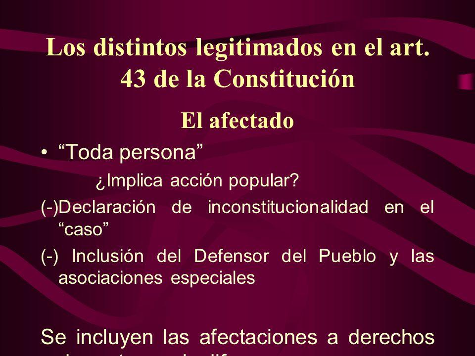 Los distintos legitimados en el art. 43 de la Constitución