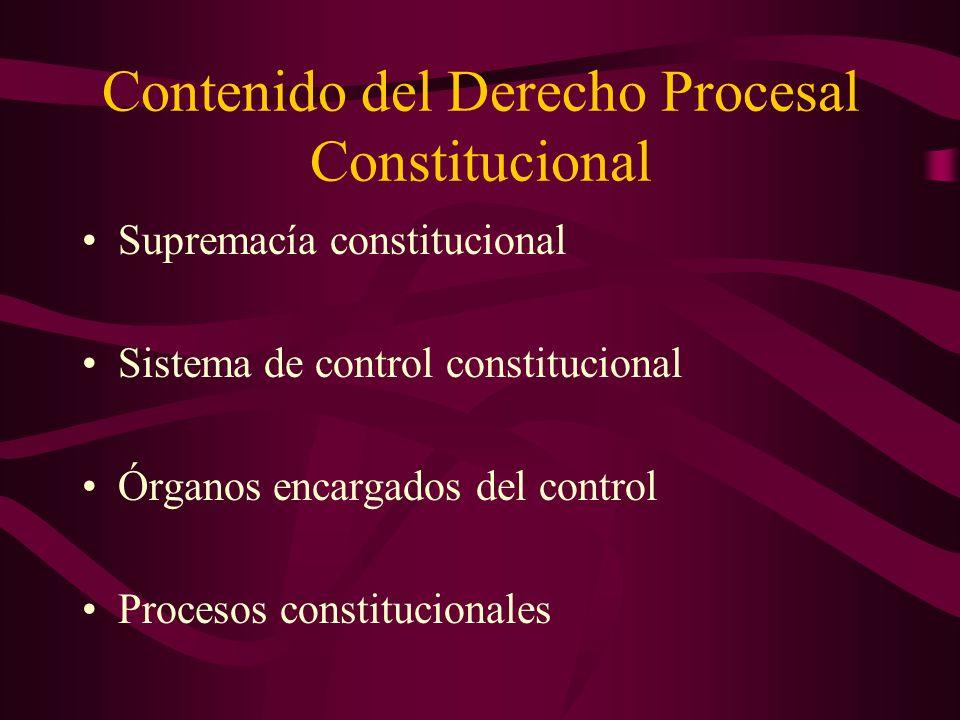 Contenido del Derecho Procesal Constitucional