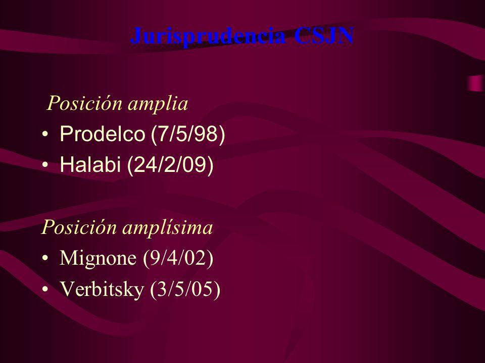 Jurisprudencia CSJN Posición amplia. Prodelco (7/5/98)