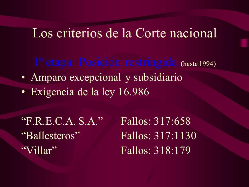 Los criterios de la Corte nacional