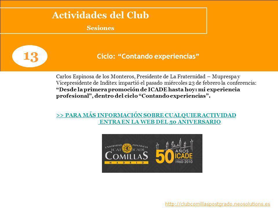 Ciclo: Contando experiencias ENTRA EN LA WEB DEL 50 ANIVERSARIO