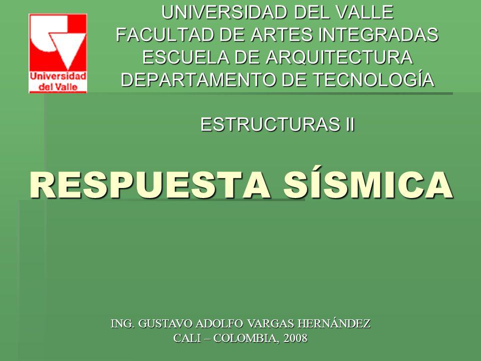 RESPUESTA SÍSMICA UNIVERSIDAD DEL VALLE FACULTAD DE ARTES INTEGRADAS