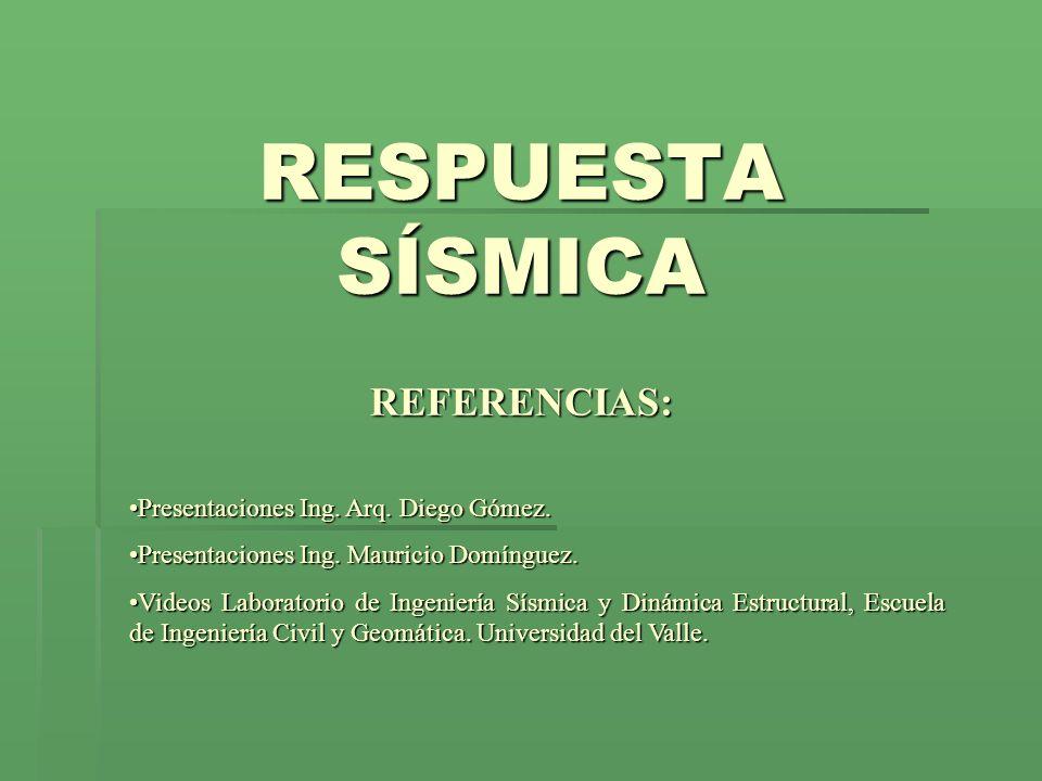 RESPUESTA SÍSMICA REFERENCIAS: