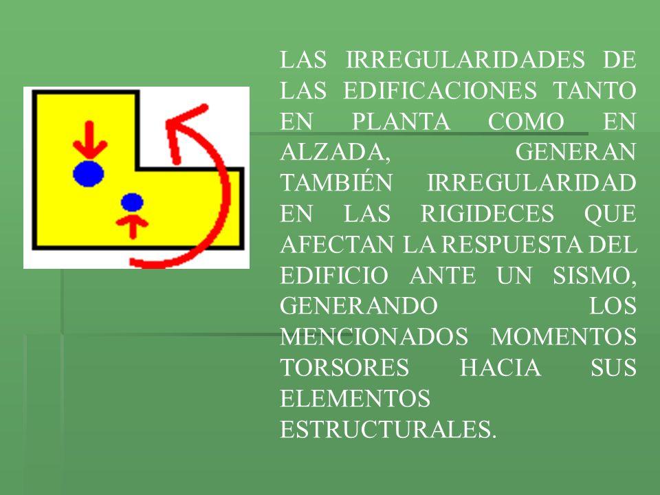 LAS IRREGULARIDADES DE LAS EDIFICACIONES TANTO EN PLANTA COMO EN ALZADA, GENERAN TAMBIÉN IRREGULARIDAD EN LAS RIGIDECES QUE AFECTAN LA RESPUESTA DEL EDIFICIO ANTE UN SISMO, GENERANDO LOS MENCIONADOS MOMENTOS TORSORES HACIA SUS ELEMENTOS ESTRUCTURALES.