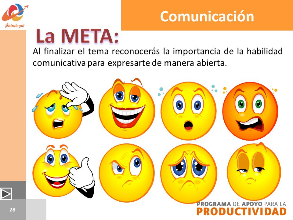 Comunicación La META: Al finalizar el tema reconocerás la importancia de la habilidad comunicativa para expresarte de manera abierta.