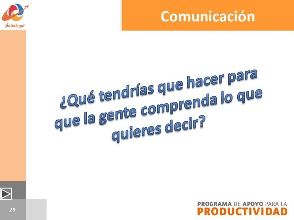 Comunicación ¿Qué tendrías que hacer para que la gente comprenda lo que quieres decir