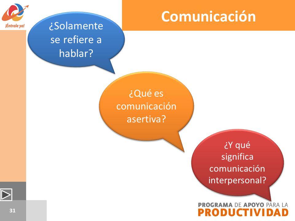 Comunicación ¿Solamente se refiere a hablar
