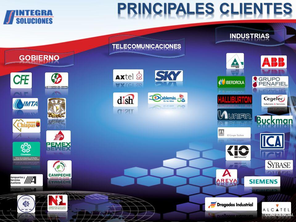 PRINCIPALES CLIENTES GOBIERNO INDUSTRIAS TELECOMUNICACIONES