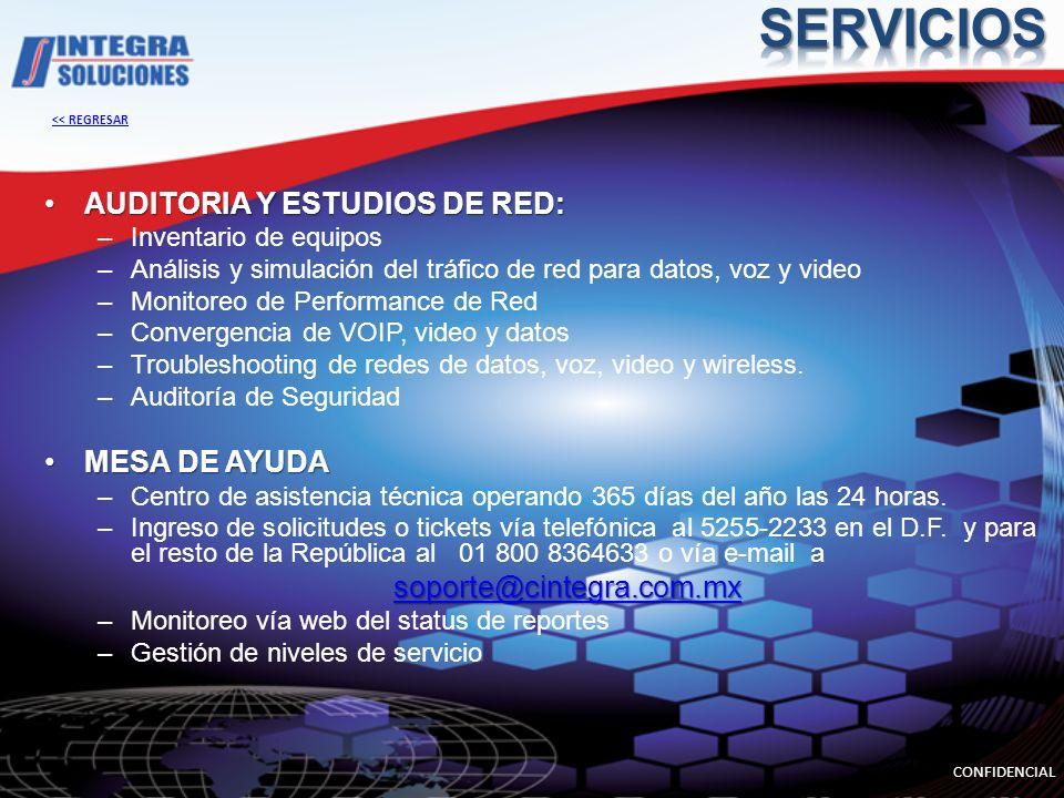 SERVICIOS AUDITORIA Y ESTUDIOS DE RED: MESA DE AYUDA
