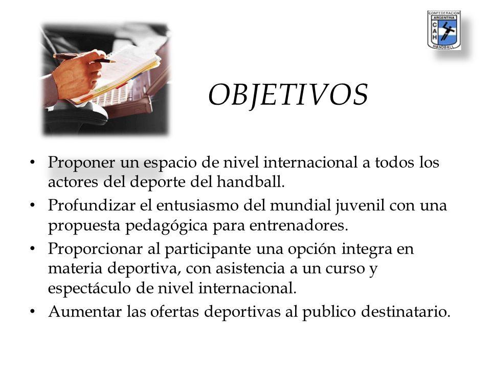 OBJETIVOS Proponer un espacio de nivel internacional a todos los actores del deporte del handball.