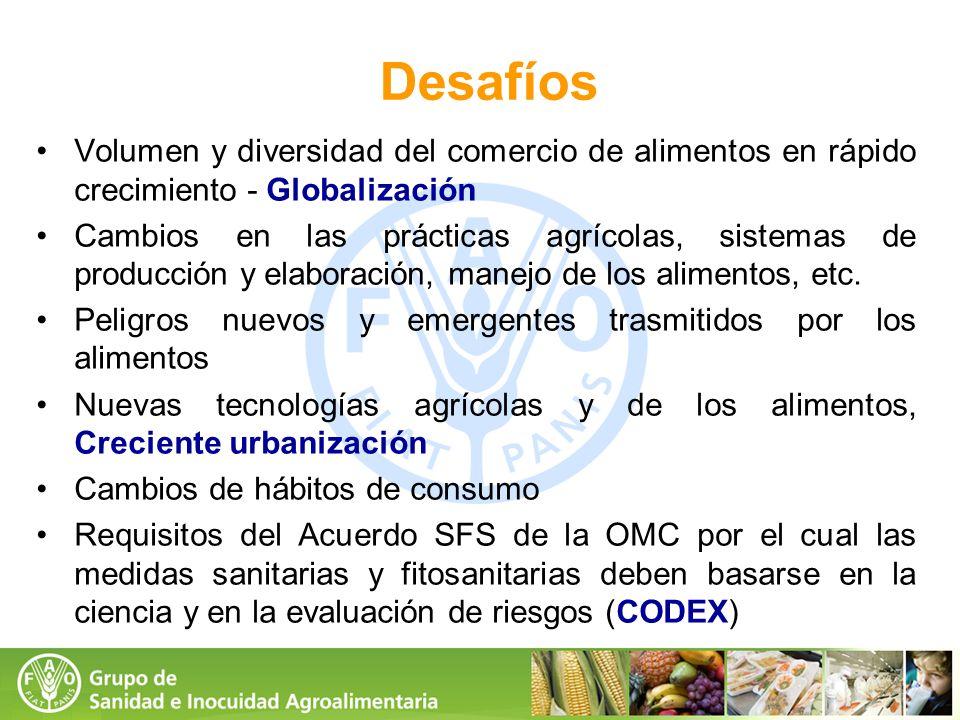 Desafíos Volumen y diversidad del comercio de alimentos en rápido crecimiento - Globalización.