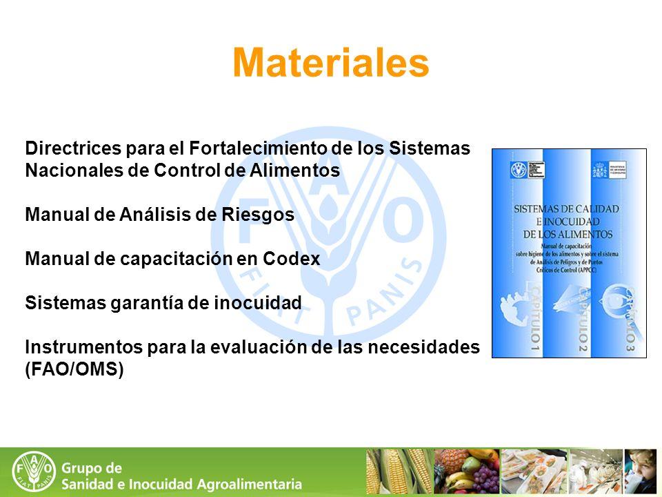 Materiales Directrices para el Fortalecimiento de los Sistemas Nacionales de Control de Alimentos. Manual de Análisis de Riesgos.