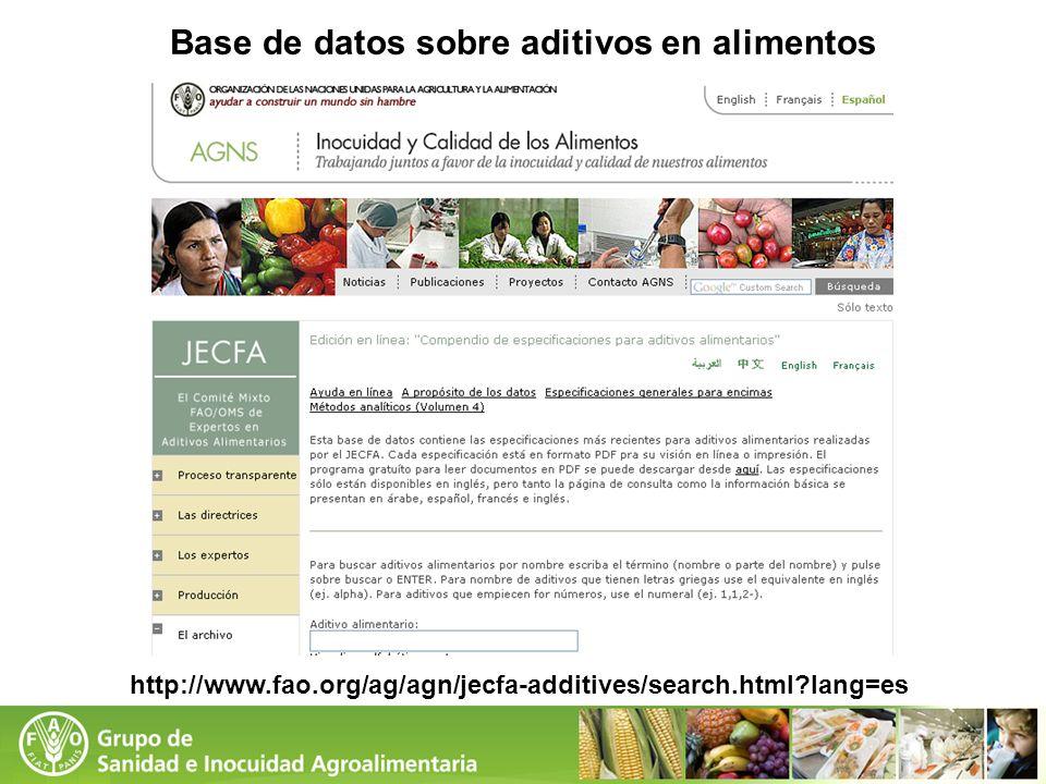 Base de datos sobre aditivos en alimentos