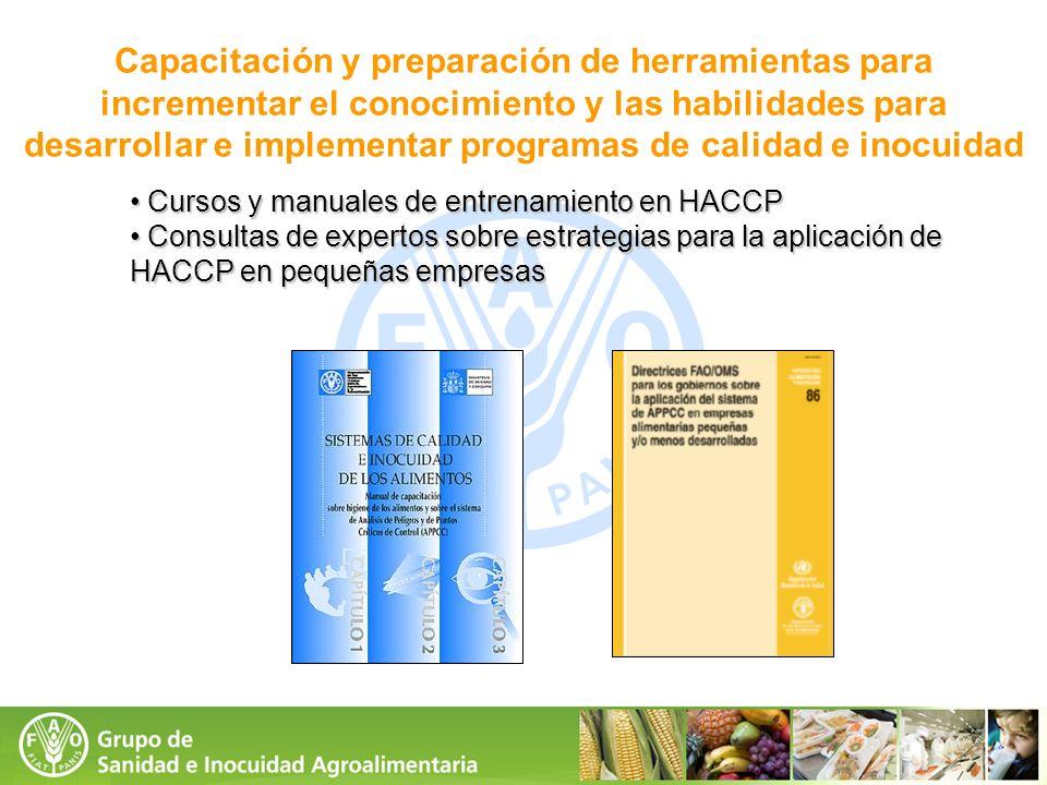 Capacitación y preparación de herramientas para incrementar el conocimiento y las habilidades para desarrollar e implementar programas de calidad e inocuidad