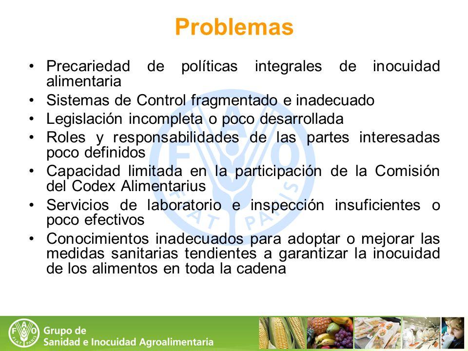 Problemas Precariedad de políticas integrales de inocuidad alimentaria
