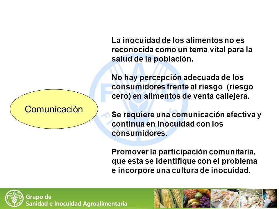 La inocuidad de los alimentos no es reconocida como un tema vital para la salud de la población.