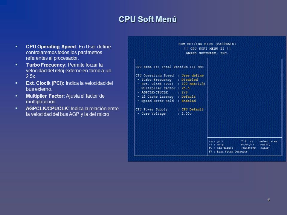 CPU Soft Menú CPU Operating Speed: En User define controlaremos todos los parámetros referentes al procesador.