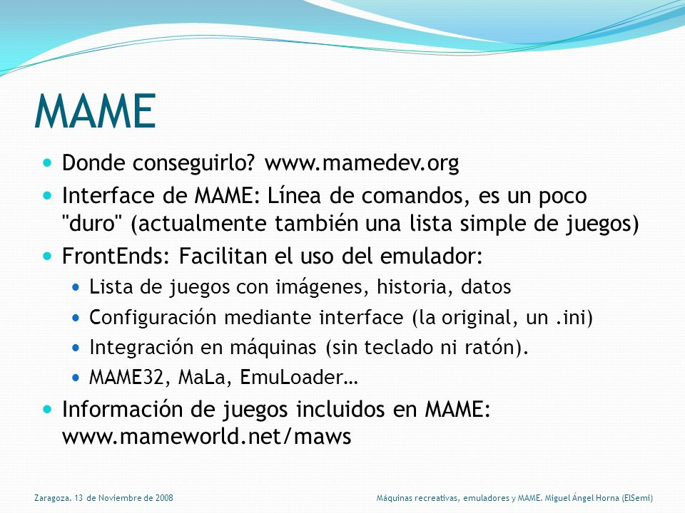 MAME Donde conseguirlo www.mamedev.org