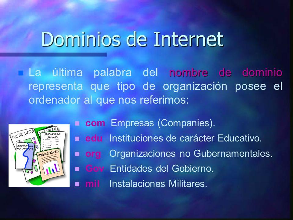 Dominios de Internet La última palabra del nombre de dominio representa que tipo de organización posee el ordenador al que nos referimos: