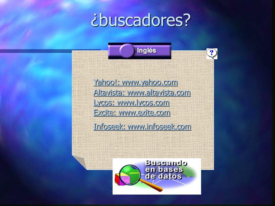 ¿buscadores Yahoo!: www.yahoo.com Altavista: www.altavista.com Lycos: www.lycos.com Excite: www.exite.com.