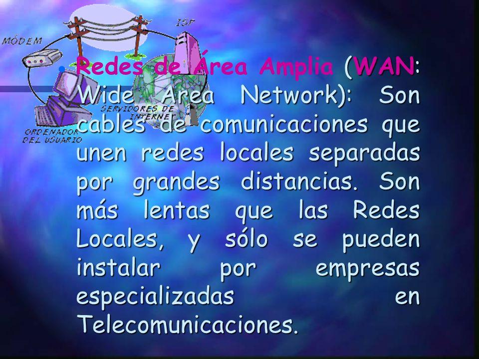 Redes de Área Amplia (WAN: Wide Area Network): Son cables de comunicaciones que unen redes locales separadas por grandes distancias.
