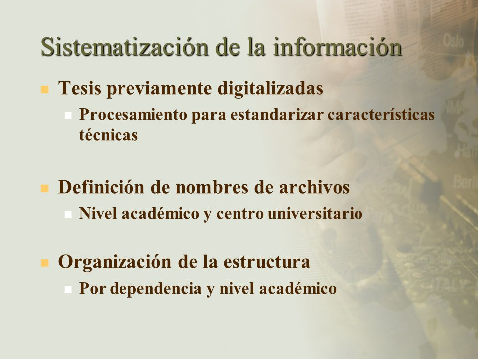 Sistematización de la información